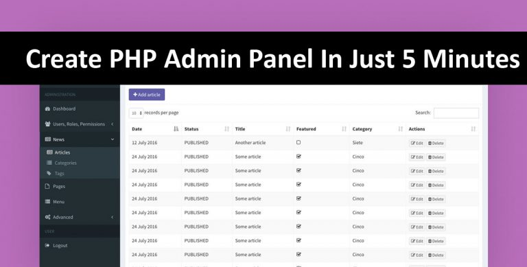 Create PHP Admin Panel In Just 5 Minutes